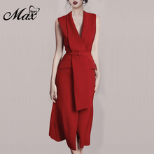 Max Spri 2019 New Fashion Style Women Solid Color V Neck Sleeveless Sash Buckle Front Slit Office Lady Midi Wrap Dress Red fashion v neck cutout cross back front slit dress for women
