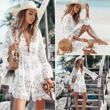 Hollow Out Chiffon Dress Sexy Women Mini Criss Bandage Lace Semi-sheer Plunge V-Neck Long Sleeve White Color
