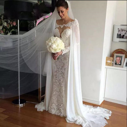 2018 New White/ivory Chiffon Wedding Jacket Wraps Cloaks Bridal Lace Long Capes EE9901