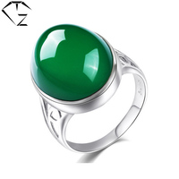 Natural Green Chalcedony Ring 925 Silver Bague Femme Pure Joyas De Plata 925 Sterling Silver Rings