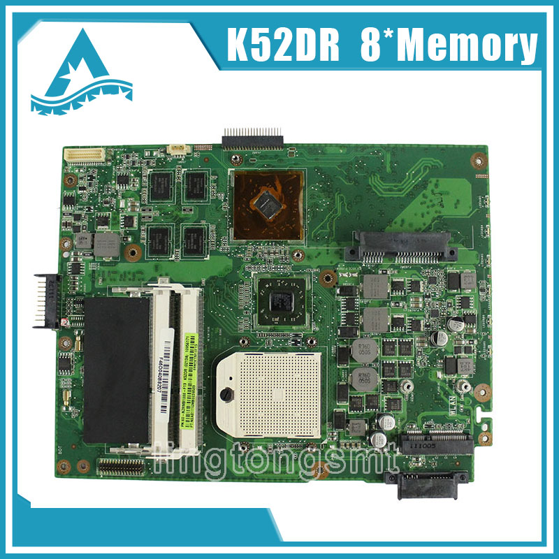 for ASUS K52DR laptop motherboard A52DE K52DE A52DR K52D Notebook mainboard HD5470 with 8pcs memory video card 100% tested