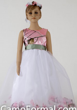 pink camo   flower     girl     dresses   pageant gown   dress   long camouflage children evening gowns