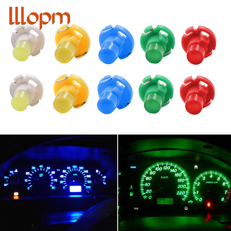 10x <font><b>T3</b></font> LED Car Light Bulb Cluster Gauges Dashboard White / Yellow/ Blue / Red / Green instruments Panel Climate Base Lamp Light image