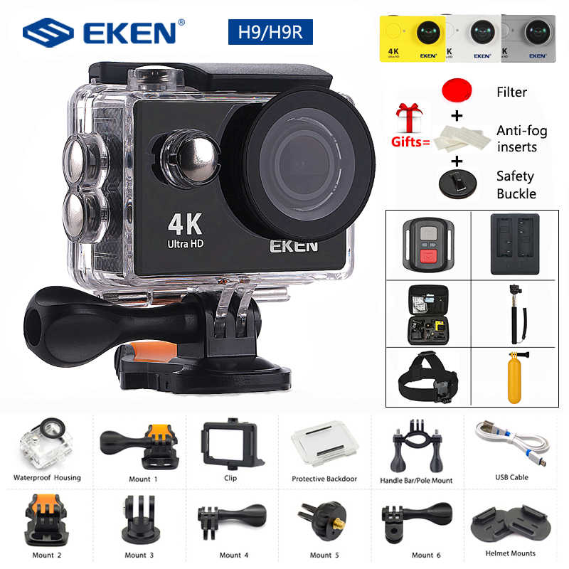 Eken H9/H9R Action Camera 4K 30FPS Ultra HD Wifi 2.0 170D Bawah Air Tahan Air Helm Kamera Video Pergi extreme Pro Sport Cam