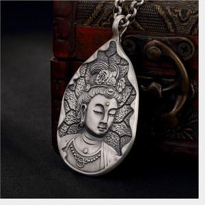 Image 5 - Uglyless אמיתי 999 כסף טהור בעבודת יד הבודהיסטווה תליוני שרשראות לא שרשרות בודהיזם תאילנדי כסף בודהה תליון טיפת מים