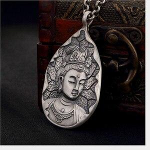 Image 5 - Uglyless Echt 999 Reinem Silber Handgemachte Bodhisattva Anhänger Halsketten keine Ketten Buddhismus Thai Silber Buddha Anhänger Wasser tropfen