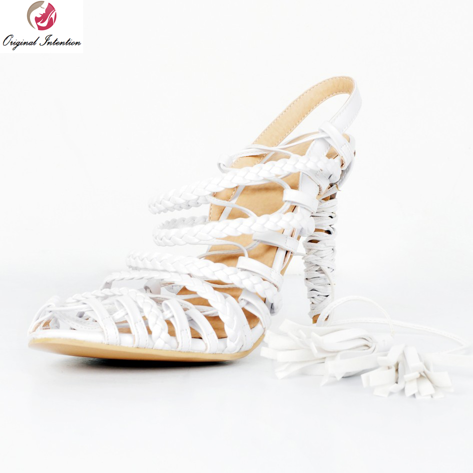 Original Intention New Stylish Women Sandals Sexy Peep Toe Thin Heels Sandals Gorgeous White Shoes Woman Plus US Size 4-15 hot selling sexy sloid thin heels sandals woman new desig lace red white black sandals peep toe elegant for women free sipping