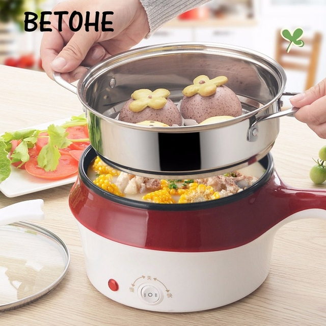 BETOHE Multi-function mini electric skillet low-power cooking noodle hot pot student dormitory artifact 1-2 people electric wok