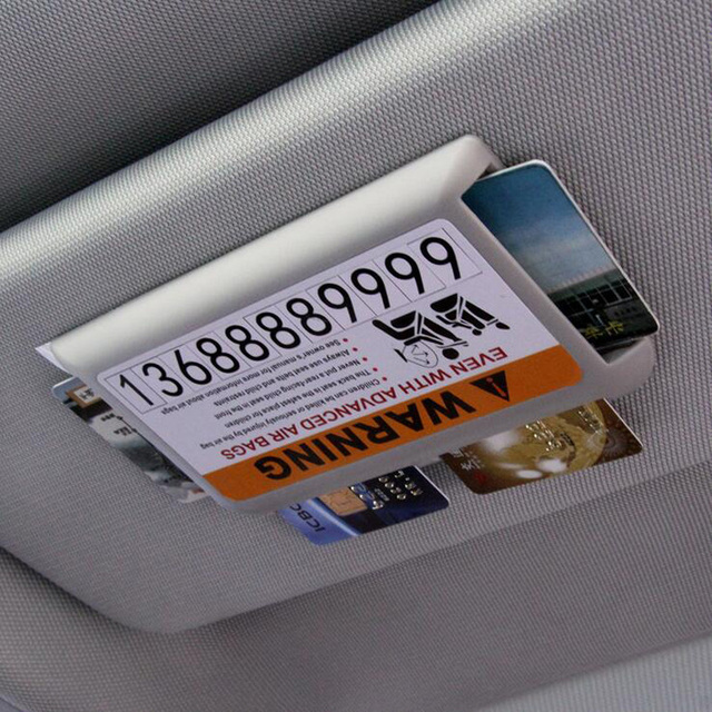 Car sun visor card holder storage box business card highway card holder with number stickers storage