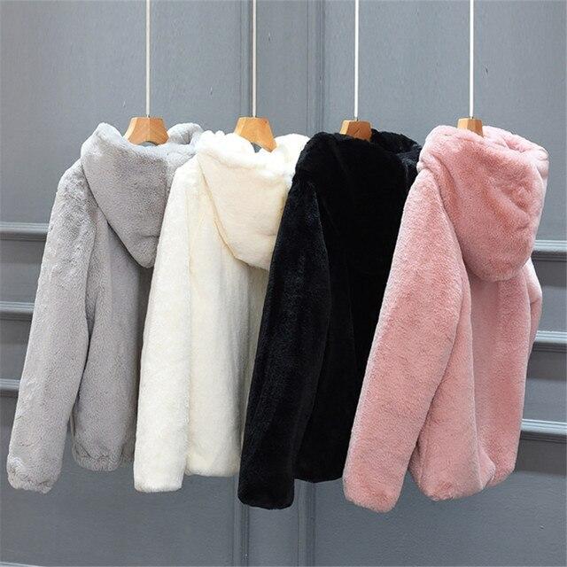 Fashoin Autumn Winter Coat Women Short Coat Warm Thick Faux Mink Fur Coats Female Long Sleeve Jacket Hooded Zippers Outwear A725