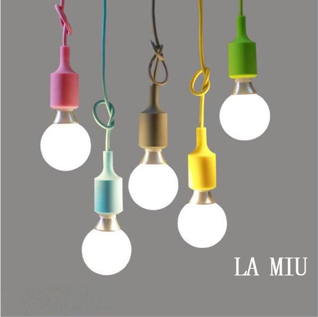 E27 Baisse Coloré Led Restaurant Pendentif Moderne Bar Lampe Socket De Edison Suspension Vintage Ampoules Lumière Silicone KJTFl1c3