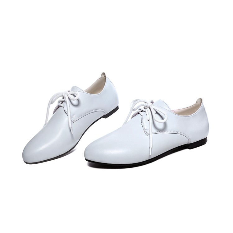 Appartements Nouveau Printemps blanc En Grande 34 Noir lilac Pu Lace Taille Arrivent Solide Chaussures Mode Femmes Up 48 Simples Automne Moonmeek Cuir Style 2018 Collège Colour 54fqI