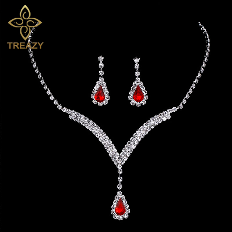 TREAZY Charming V Shaped Bridal Jewelry Sets Red