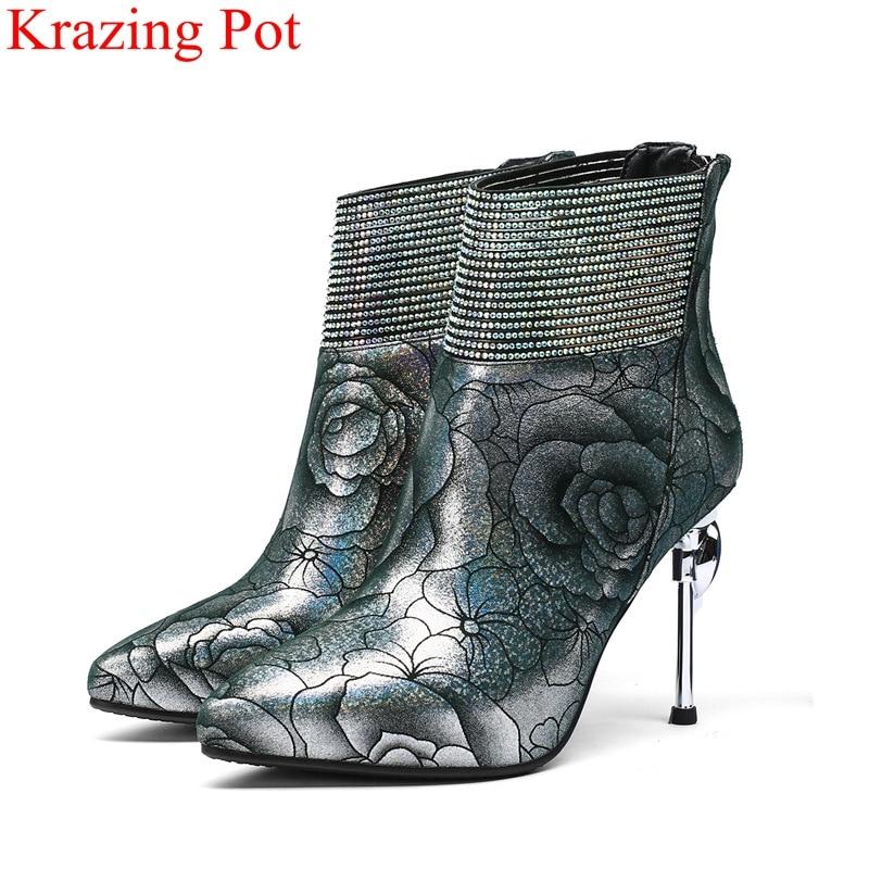 2018 superestrella de cuero genuino zip sweet super alta impresión bling Oficina señora club nocturno mujeres botines pista zapatos de invierno L25-in Botas hasta el tobillo from zapatos    1