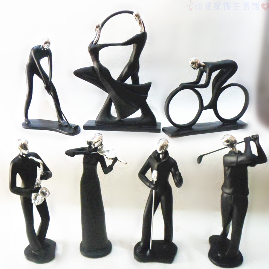 Modern decorative sculpture dancing/sport/singing resin figurines collections prize/gift for event pure white/black/red ornament