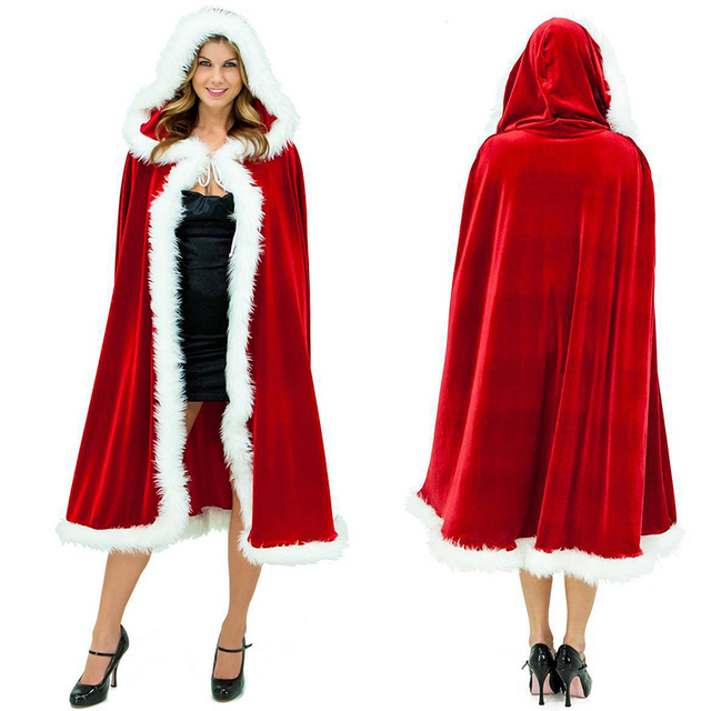 a55070d03d6 Santa Claus Hooded Cloak Ponchos Red Thickening Robe for Women Christmas  Costume Clothing Adult Sexy Long Christmas Cape X57