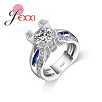 JEXXI New Arrival 2016 Women 925 Real Sterling Silver Rings Charm Jewelry Alluring Brilliant Wedding Ring