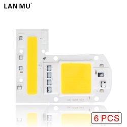 LAN MU 6PCS LED COB Chip 110V 220V 10W 20W 30W 50W 70W 100W 120W 150W LED Bulb Lamp Input Smart IC Flood Light Spotlight
