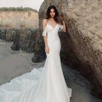 Eightree Spaghetti Strap Hochzeit Kleid Strand Meerjungfrau Braut Kleid Sexy Weiß Chiffon Hochzeit Kleider Vestido De Noiva Neue Design