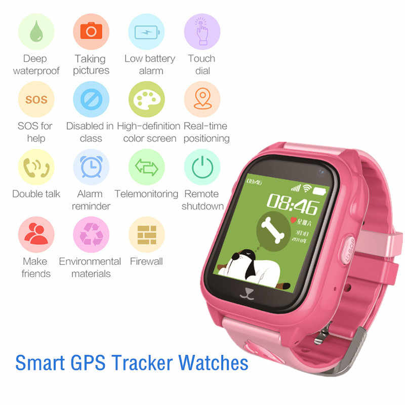 Smart GPS Tracker SOS Waterproof Smart Watch Phone kids Baby Locator Camera Anti Lost Monitor Compatible IOS & Android