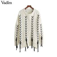 Vadim Women Sweet Lace Up Knitted Loose Sweaters Oversized Long Sleeve O Neck Autumn Pullovers Female
