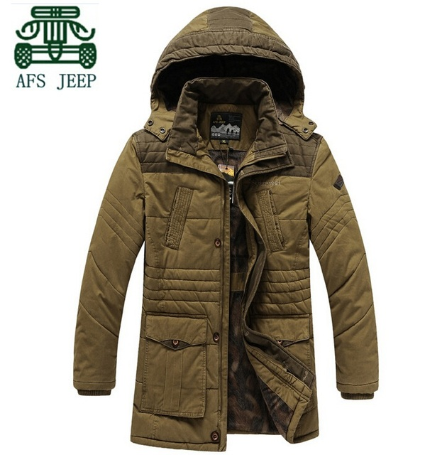 AFS JEEP 2015 Original de la Marca 100% Algodón Abrigo, M/3XL de Los Hombres casuales Abrigo, Con Capucha Desmontable Masculina chaqueta larga, Capa Del Hombre