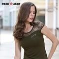 Hot Sexy Womens Lace Camiseta Militar Del Ejército Tops Camisa Delgada Fit Marca Camiseta Mujeres de Gran Tamaño Del Verano Las Camisetas de Las Muchachas Gs-8508A
