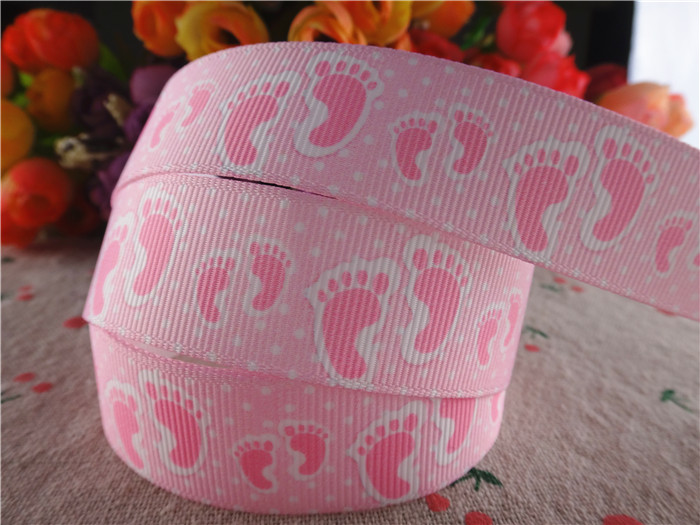 new arrival 22mm 5 yards baby shower printed grosgrain ribbons birthday party decorations ribbon hairbows