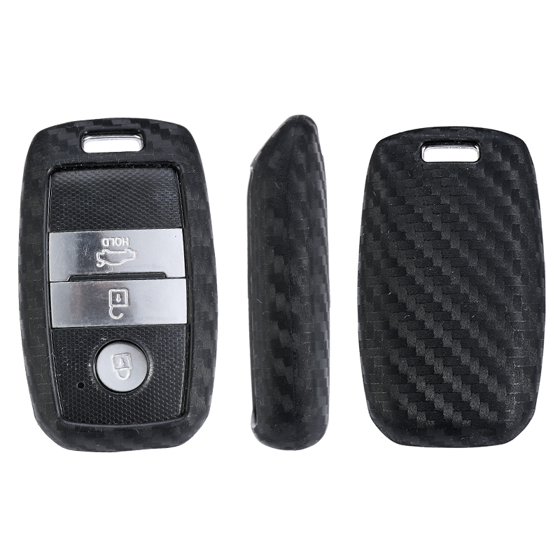 For Kia Forte Niro Optima Sedona Sorento Soul Sportage Remote Cover 1pcs Carbon Fiber Pattern Silicone Car Key Case Keychain in Key Case for Car from Automobiles Motorcycles
