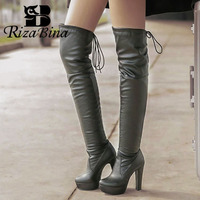 RizaBina Pu Leather Plus Size 32 45 Square Heels Boots Sexy Platform Over The Knee Boots For Women Round Toe Shoes Women Footwea
