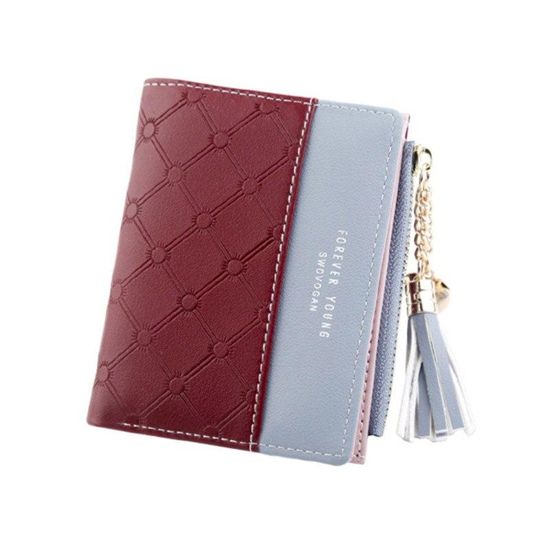 Leather Small Wallet Women Mini Women Wallets Purses Female Short Coin Zipper Purse Holder Tassel Zipper Button Bag (6)