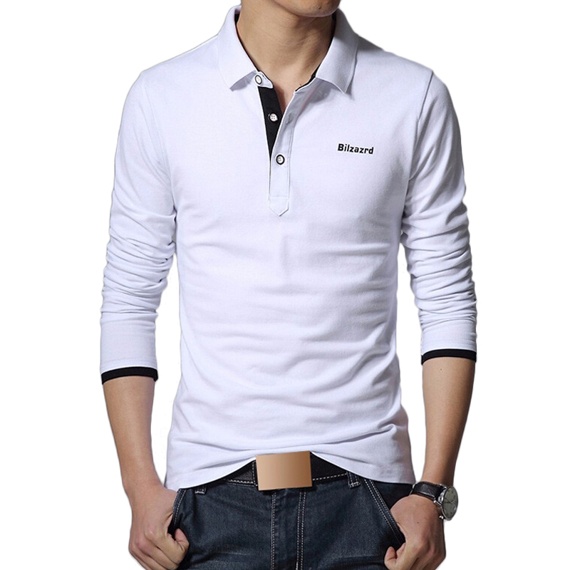 Men polo shirt brand fashion long sleeve solid polos for Longer length mens polo shirts