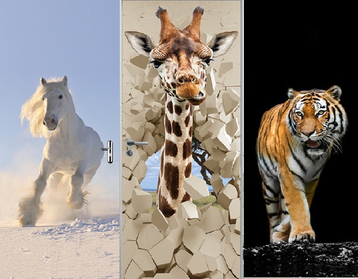 Nouveau En 3d Porte Murale Papier Peint Autocollants Girafe Tigre Cheval Blanc Auto-adhésif Vinyle Amovible Art Porte Stickers 30.3x78.7