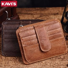 KAVIS Brand Genuine Leather Card Holder Capacity Zipper Female Fashion Men Women ID Card Wallets With Coin Purse Slim and Mini