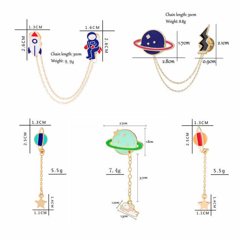 漫画のブローチラペルピン男性スーツ惑星スペースメタルスター猫ブローチデニムジャケット帽子バッグかわいいエナメルピンジュエリー