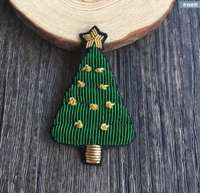 Christmas Tree Patch: Christmas Tree Silk Emboridered Patch Brooch India Silk