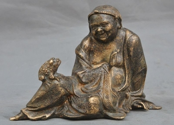 """7"""" Old Chinese fengshui pure bronze Liu plays Golden toad wealth lucky Statue"""