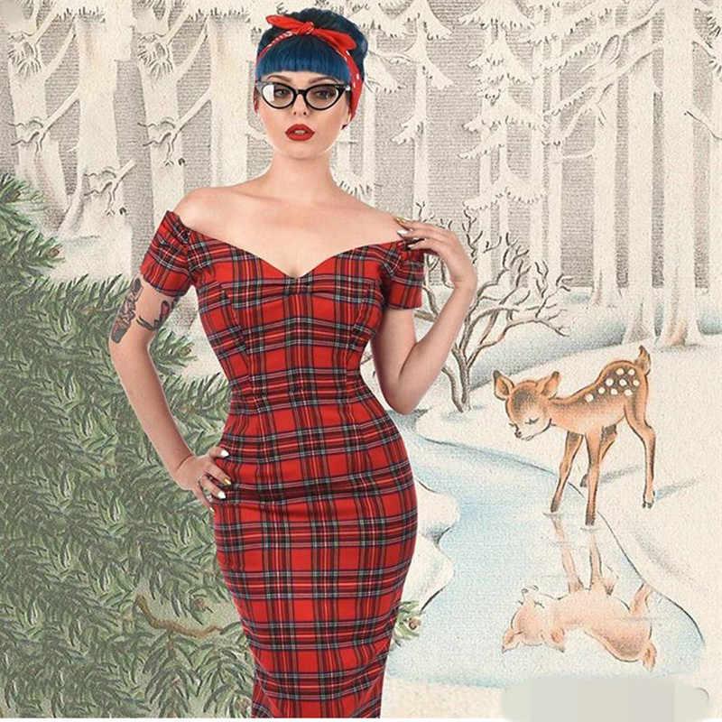 40- summer women vintage 50s tartan boat neck off shoulder wiggle pencil  dress in red d6bc792ce26c