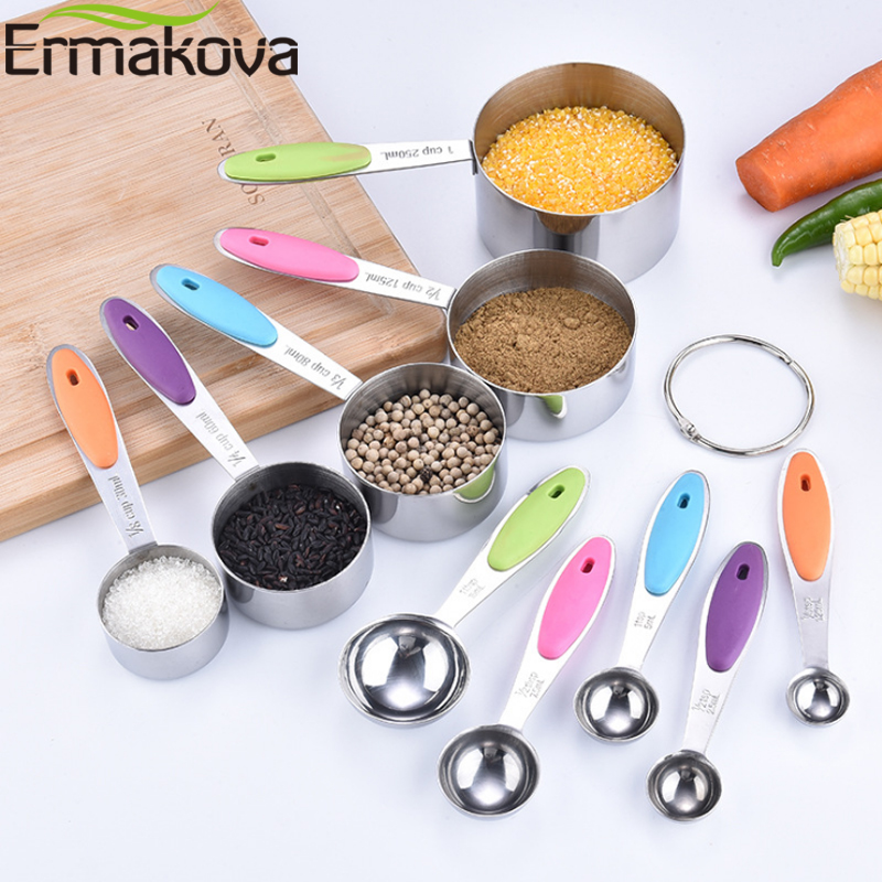 ERMAKOVA Measuring Cups And Spoons Set Table Spoon 18/8 Stainless Steel Home Kitchen Gadget Tool Utensils For Cooking Baking