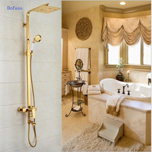 Dofaso bathroom shower Faucets Luxury Gold Brass Bathroom shower Mixer Tap Wall Mounted Hand Held square shower head quyanre wall mounted sus304 stainless steel rain shower faucets set system 3 way mixer tap square hand shower head bath shower