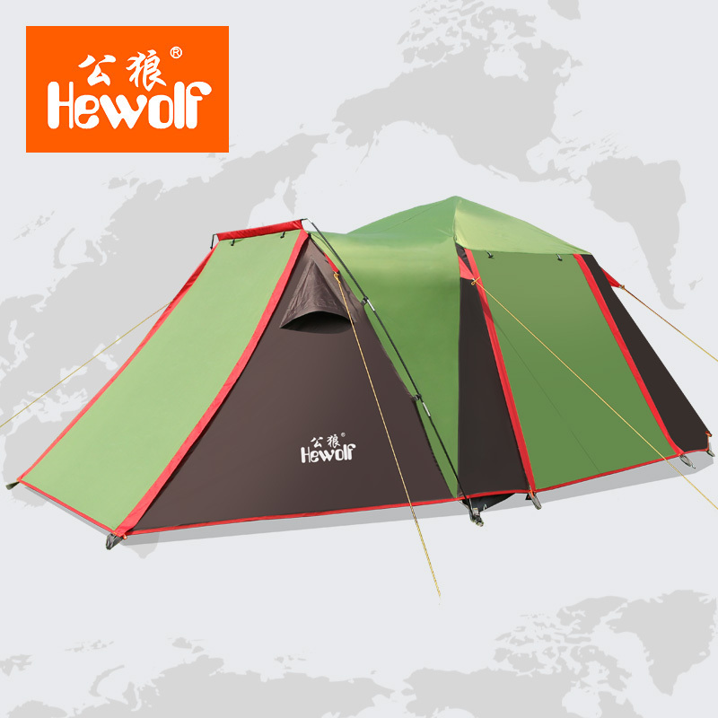 Hewolf 3-4 person multiplayer large space ventilation automatic tents camping tent 1sleeping room 2hall outdoor family tent high quality outdoor 2 person camping tent double layer aluminum rod ultralight tent with snow skirt oneroad windsnow 2 plus