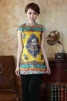 Новая модная женская одежда золотого цвета в китайском стиле  шелковые блузки  рубашки  топы больших размеров S  M  L  XL  XXL  XXXL  Бесплатная доста...