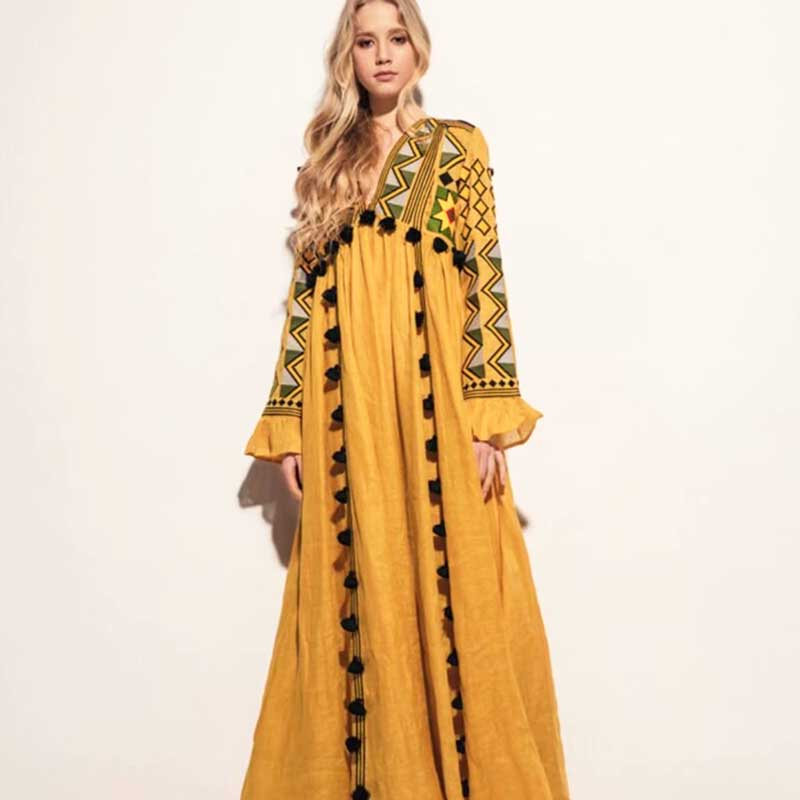 bf614156885 Details about Embroidered Linen Maxi Women Dress V-neck Long Sleeve Loose  New Style