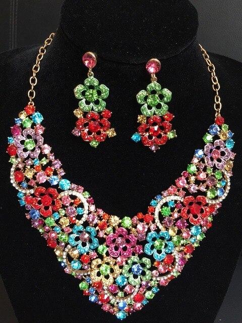 2016 Свадебные Украшения Моде Высокое Качество Цветок Ожерелье и Серьги Наборы Кристалл Африканские Бусы Ювелирные Наборы QXQ-G06