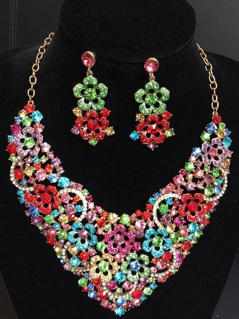 2016 Declaração de Moda de Alta Qualidade da Jóia Do Casamento Conjuntos de Colar e Brinco de Cristal Flor Beads Africanos Jóias Define QXQ-G06