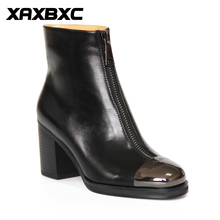 XAXBXC Retro British Style Leather Brogues Oxfords High Heel Short Boot Women Shoes Black Metal Toe Handmade Casual Lady Shoes