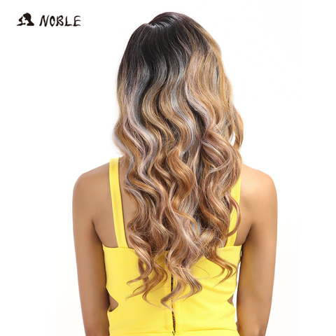 Noble T Part Lace Front ombre blonde Wig 22 Inch Long Wavy Synthetic Wigs  Full I Part Wigs  3 Colors Choice Free Shipping Islamabad