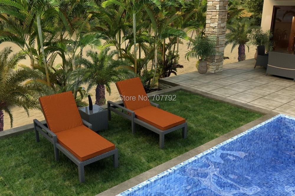 3 Piece Adjustable Outdoor Chaise Lounge Set, Orange Cushions(China  (Mainland)