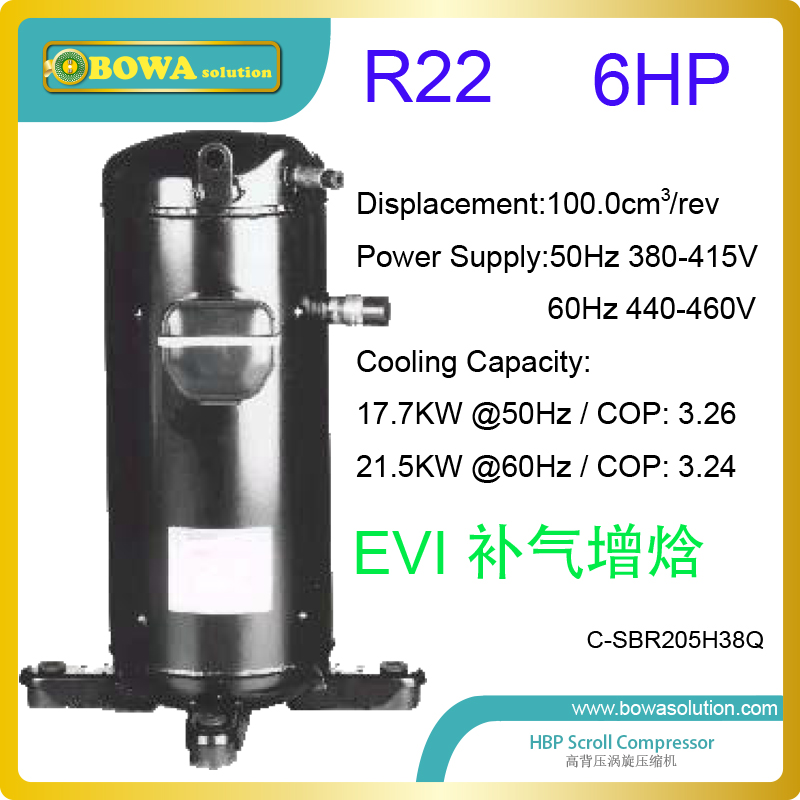 6HP refrigerant scroll compressor with EVI technology are used in R22 air source heat pump VRF air conditioners in cold area 43kw r22 heating capacity exchanger is installed in air source heat pump water heater or 3 in 1 heat pump air conditioners