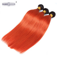 Модные queen hair Ombre прямые натуральные волосы Связки 1B оранжевый цвет натуральные волосы 3 Связки Расширения 10 30 дюйм(ов) ов)